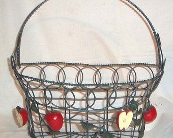 Vintage Handmade Large Metal Wall Hanging Basket With Metal Leaves and Red Apple Accents