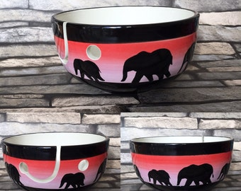 Yarn bowl, hand painted, elephant, gifts for her, knit, knitting, crochet, crocheting, yarn holder, yarn, Mother's Day, wool bowl
