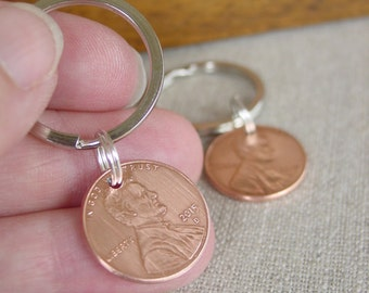 Couples Gift, Lucky Penny Keychains, Set of Two, Penny Keychain, Copper Anniversary, 7th Anniversary Gift, Husband Gift, Wife Gifts