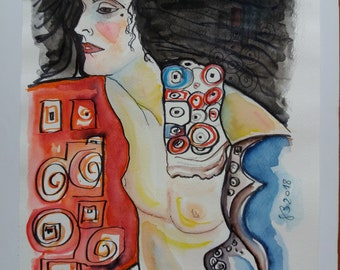 Salome-Watercolor No. 49-2018 Gustav KLIMT Atupertuarte Original Watercolor