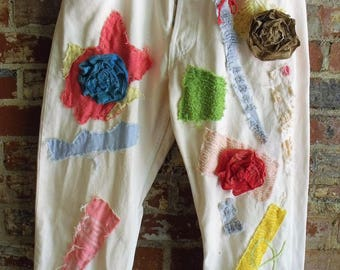 Junked Up Jeans/ Artsy Levis/ Button Front Levis/ Retro Cream Denim/ Decorated Jeans/ Raggey Funwear/ Funky Eco Art/ Sheerfab Handmade