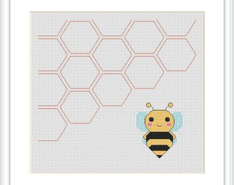 Honeycomb baby bee cross stitch pdf instant download