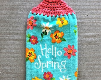 HELLO SPRING FLOWERS Extra Plush Double Layer Towel, hanging towel, decorative towel, mother's day gift, #flowers, housewarming, hand towel