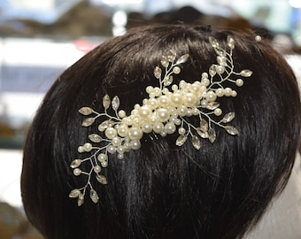 Crystal Hair Comb, Wedding Hair Comb, Bridal Hair Comb,  Pearl Hair Comb, Floral Hair Comb, Bridal Headpiece,Swarovski shine #30801