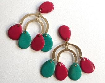 Bohemian chandelier earrings, Large chandelier earrings, Boho large earrings, Black earrings, Contemporary jewelry , Statement chandelier