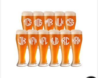 SHIPS FAST - 11 Custom Beer Glasses, Engraved Custom Beer Glasses, Personalized Custom Beer Glasses, Etched Groomsmen Pilsner Glasses