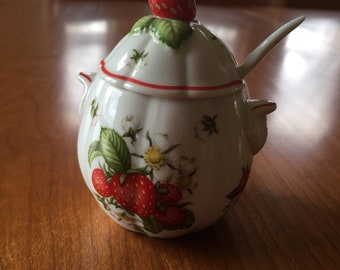 Lenox Strawberry Jelly / Jam Pot