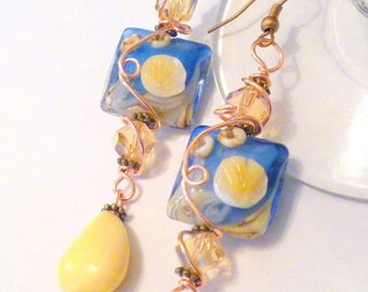 Wirewrapped Beach Theme Lampwork Beaded Earrings