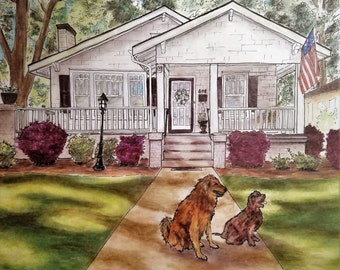 Full Detail :  Exterior Home Rendering with Pet(s)