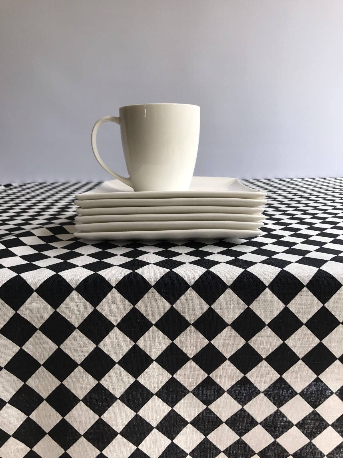 Black And White Checkered Tablecloth, Linen Tablecloth, Retro Linen Table  Cloth, Geometric Tablecloth Rectangle Tablecloth Square Checkers