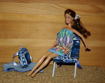 Beach dress for Barbie - handmade-silk-fashion royalty