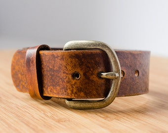 Distressed Leather Adjustable Vintage Belt Buckle Cuff
