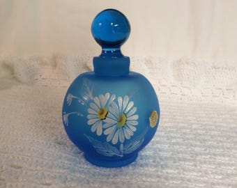 Westmoreland Line 1902 Blue Daisy Perfume Bottle with Stopper E-73