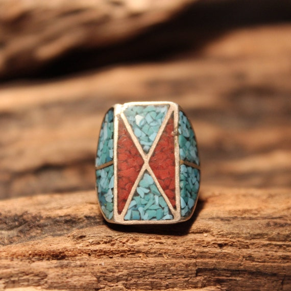 Vintage Sterling Silver Ring Navajo Native American 9.8 grams Size 5.25 large Navajo Turquoise Coral Inlay Ring Mens Jewelry Mens Ring Biker