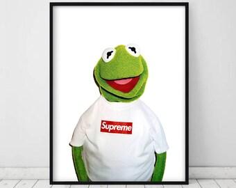 Kermit The Frog Supreme Print • Supreme X Kermit Street Urban Poster Print Supreme Kermit The Muppets Supreme Kermit the frog puppet Kermit
