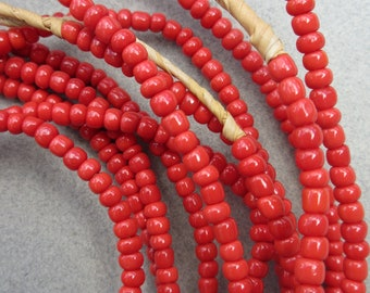 Red Glass Beads -6 Strands