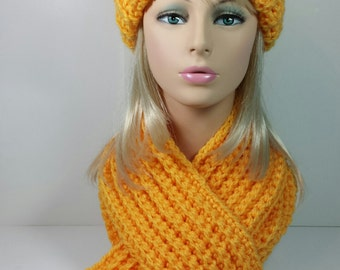 Yellow Chunky Crochet Hat Scarf Set