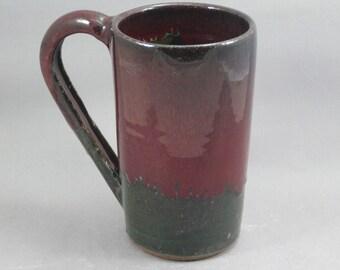 Pottery Beer Mug Red & Green to Black REDGTB33