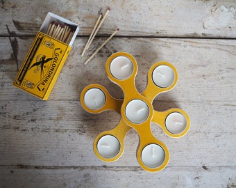 Wooden Tea Light Candle Holder Color Ochre - Candle Holder Wood - Modular Candle Holder Centerpiece -Tea light Candle Holder Plywood Birch