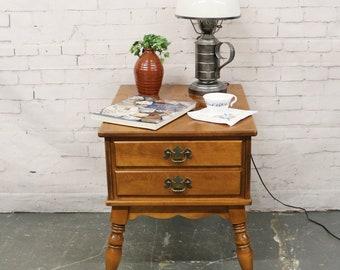 Vtg Ethan Allen End Table 2-Drawer Maple Nutmeg Heirloom 10-8587