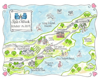 Custom Wedding Map - Norfolk, Long Island - Hand Drawn Wedding Map-Watercolor Map