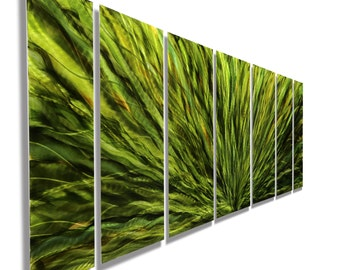 SALE! Large Multi Panel Modern Metal Wall Art in Green, Contemporary Metal Painting, Home Decor - Emerald Plumage 7P by Jon Allen