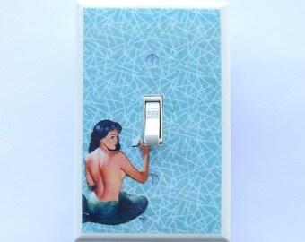 Mermaid Plates & Outlet Covers w/ MATCHING SCREWS- Mermaid pinups mermaid wall decorations mermaid art vintage mermaid bathroom print merman