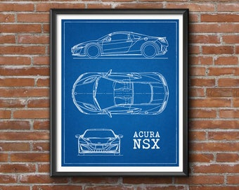 Race car blueprint automotive blueprint blueprint art acura nsx blueprint car blueprints acura nsx honda nsx decor instant download malvernweather Gallery