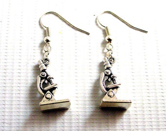 Microscope Earrings - Science Earrings - Scientist Earrings
