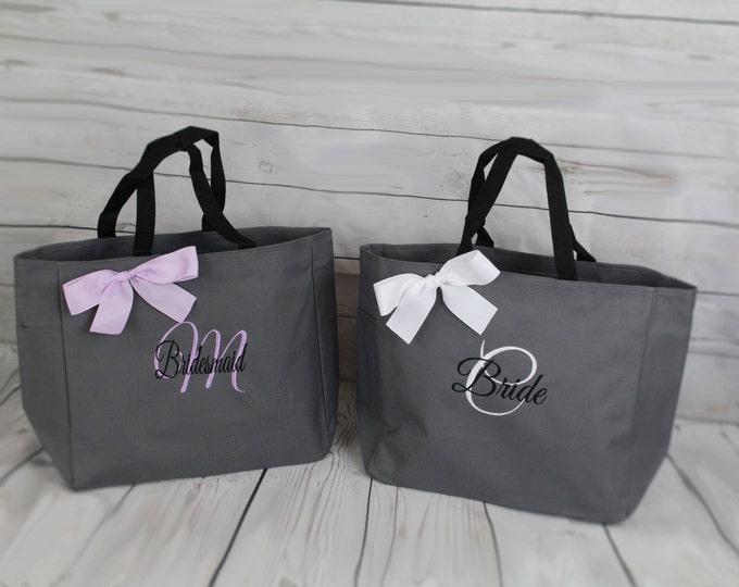 11 Personalized Bridesmaid Tote Bags- Bridesmaid Gift- Personalized Bridemaid Tote - Wedding Party Gift - Name Tote-