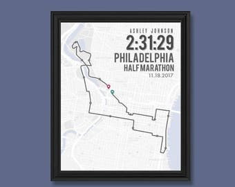 Philadelphia Half Marathon Print | Customizable | Running Wall Decor