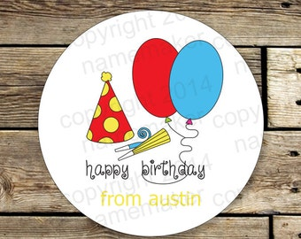 12 Round Gift Stickers, Personalized Gift Labels, Happy Birthday Labels, Personalized Party Stickers, Gift Stickers for Boys