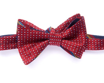 Self-tie reversible bowtie red diamond & royal blue stripes, silk bow tie for men, adult, classic suit, wedding and groomsmen, graduation