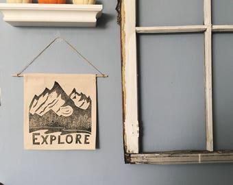 Block Printed Banner, Explore