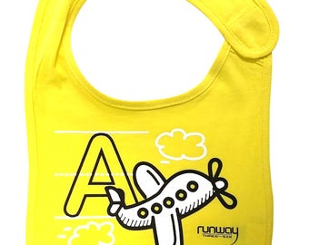 Yellow Baby 'A is for Airplane' Bib by runway THREE-SIX