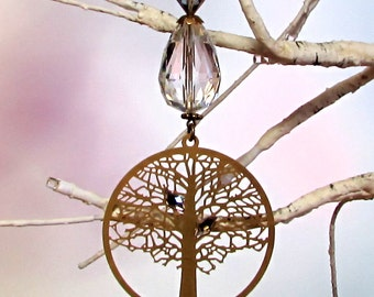 Crystal Sun Catcher & Christmas Ornament, Gold Tree Of Life, 1S-57