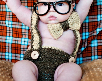 PDF Instant Download Nerd Baby Suspenders and Bowtie Diaper Cover Crochet PATTERN