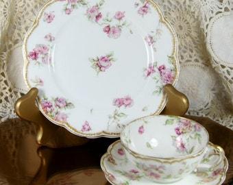 Gorgeous Haviland Floral Limoges TeaCup and Saucer Shabby Chic Roses Trio