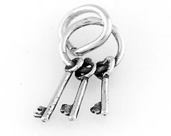Sterling Silver Tiny Keys Charm