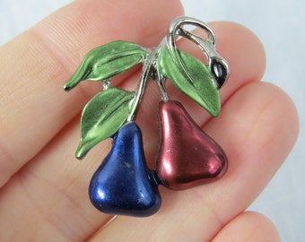 Vintage Silver Chrome Blue and Red Pears Pin or Brooch Unmarked