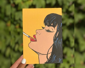Hand painted Primary Color Pop Art Acrylic Canvas Painting 7x4