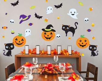 Pumpkin Party Wall Decal Kit - Halloween Wall Decal by Chromantics
