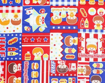 Japanese Fabric ~ Kokka Fabric ~ Push Pin ~ Chef Fabric ~ Boys Fabric ~ Red Fabric ~ Printed Cotton Oxford ~ Quilt Fabric ~ Apparel Fabric