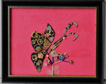 Steampunk Butterfly Pink Industrial mixed media acrylic art 8 x 10 canvas