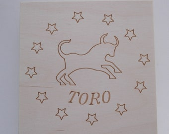Custom box zodiac sign Taurus cm 14x14x8 2.5