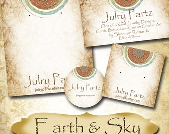 EARTH & SKY Series 2•Custom Tags•Labels•Earring Display•Clothing Tags•Custom •Boutique Card•Tags•Custom Tags•Custom Labels