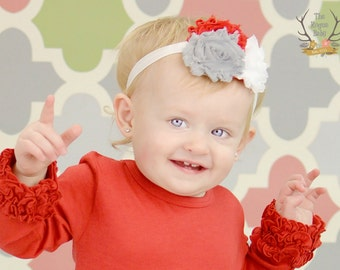 White Gray and Red Flower Baby Headband - Newborn Infant Baby Toddler Girls Adult  Flower Head band