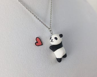 Cute Panda Necklace // Polymer Clay Pendant // Kawaii Black and White Panda Bear // Animal Lover Gift // Gifts for Daughter and Girlfriend