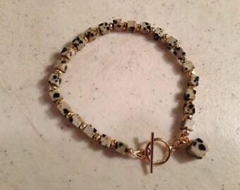 Dalmatian Jasper Bracelet - Gold Pyrite Jewelery - Gemstone Jewellery - Fashion - Trendy