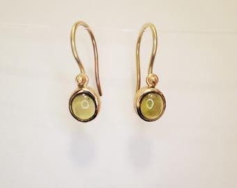 Earrings solid gold 18 kt green Tourmaline